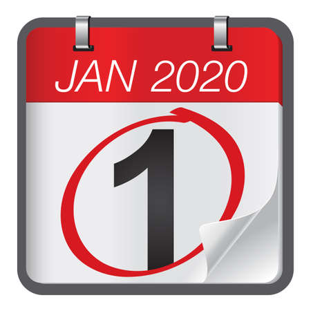 Close up of first day of the year 2020 on calendar. New year is the first day of the year in the Gregorian calendar.