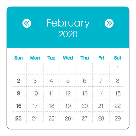 February 2020 monthly calendar vector illustration, simple and clean design. 矢量图像