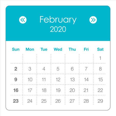 Illustrazione vettoriale del calendario mensile di febbraio 2020, design semplice e pulito.