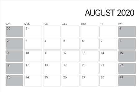 Illustrazione vettoriale del calendario da tavolo di agosto 2020, design semplice e pulito.