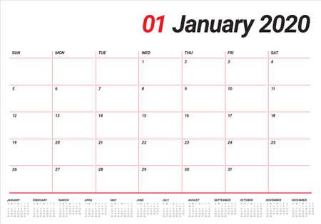Illustration vectorielle de calendrier de bureau de janvier 2020, design simple et épuré.