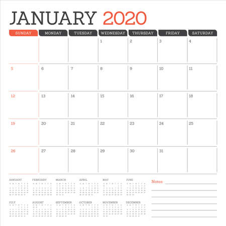January 2020 desk calendar vector illustration, simple and clean design.