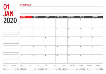 Illustrazione vettoriale del calendario da tavolo di gennaio 2020, design semplice e pulito. Vettoriali