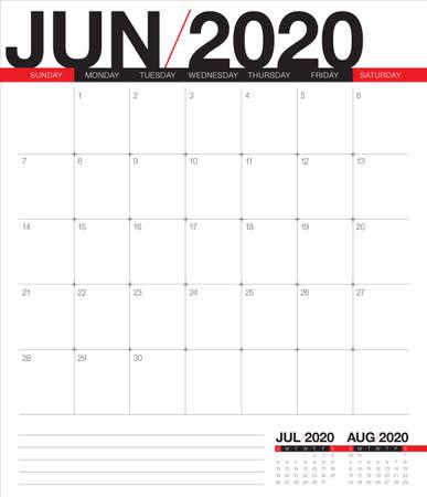Illustrazione vettoriale del calendario da tavolo di giugno 2020, design semplice e pulito. Vettoriali