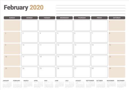 Ilustración de vector de calendario de escritorio de febrero de 2020, diseño simple y limpio.