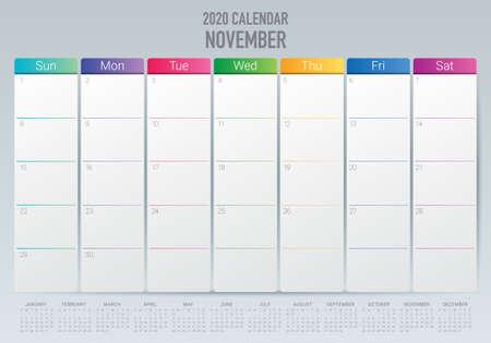 Illustrazione vettoriale del calendario da tavolo di novembre 2020, design semplice e pulito. Vettoriali
