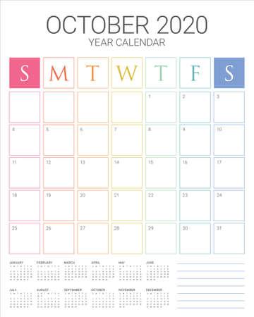 Illustrazione vettoriale del calendario da tavolo di ottobre 2020, design semplice e pulito.