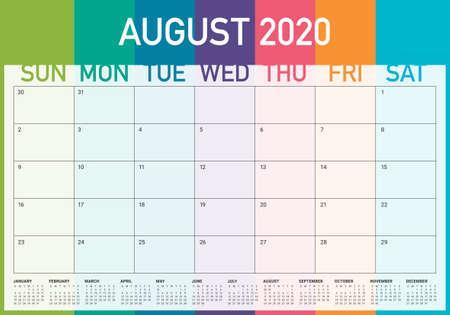 August 2020 desk calendar vector illustration, simple and clean design.