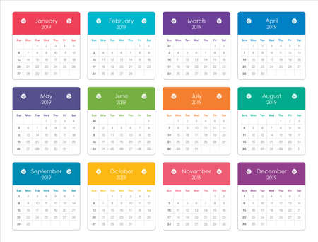 Year 2020 monthly calendar vector illustration, simple and clean design. Vettoriali