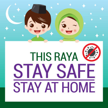 Selamat Hari Raya aidilfitri and please stay at home. Muslims prepare to celebrate Hari Raya at home to avoid the spread of viruses covid-19. Çizim