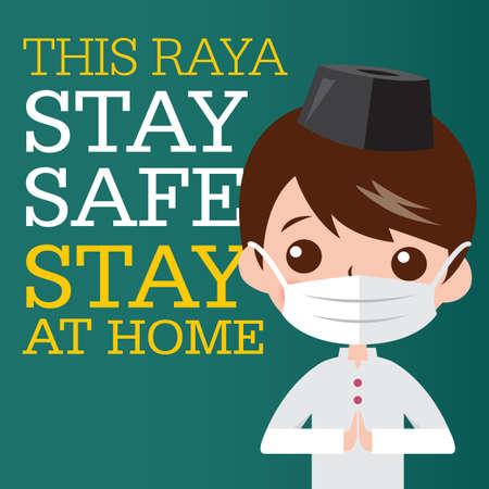 Selamat Hari Raya aidilfitri and please stay at home. Muslims prepare to celebrate Hari Raya at home to avoid the spread of viruses covid-19. Ilustração