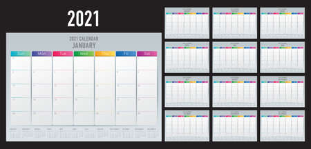 Year 2021 desk calendar vector illustration, simple and clean design.