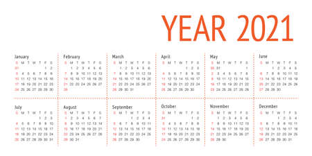 Year 2021 calendar vector design template, simple and clean design Illustration