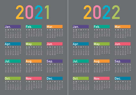 Year 2021 2022 calendar vector design template, simple and clean design