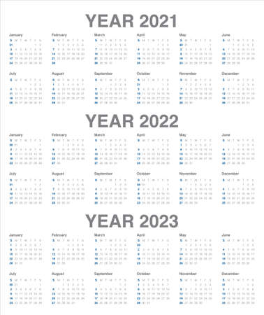 Year 2021 2022 2023 calendar vector design template, simple and clean design Illustration
