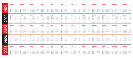Year 2021 2022 2023 2024 2025 calendar vector design template, simple and clean design