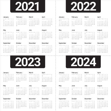 Year 2021 2022 2023 2024 calendar vector design template, simple and clean design