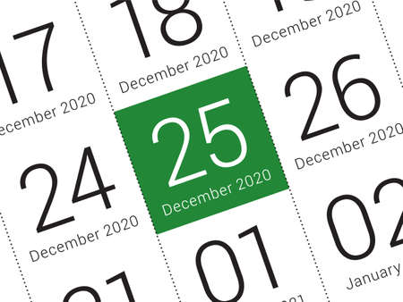 Close up of Christmas day 2021 on diary calendar. Wishing you wonderful memories during this joyous season. Vettoriali