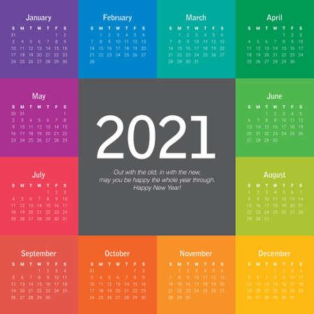 Year 2021 calendar vector design template, simple and clean design Vettoriali