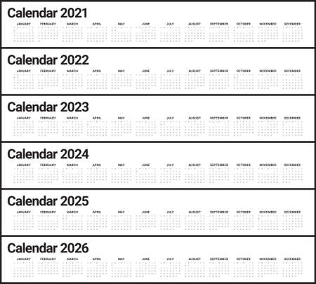 Year 2021 2022 2023 2024 2025 2026 calendar vector design template, simple and clean design