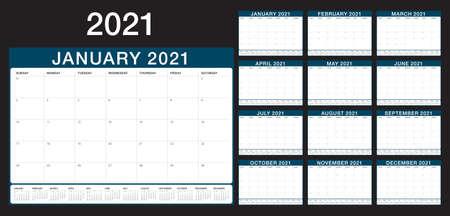 Year 2021 desk calendar vector illustration design