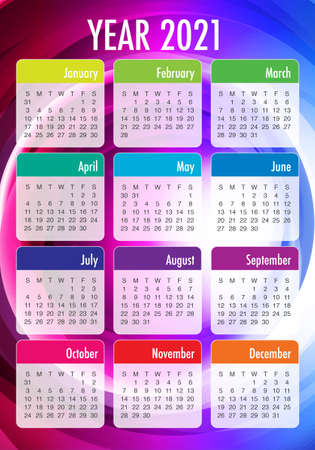 Year 2021 calendar vector design template, simple and clean design
