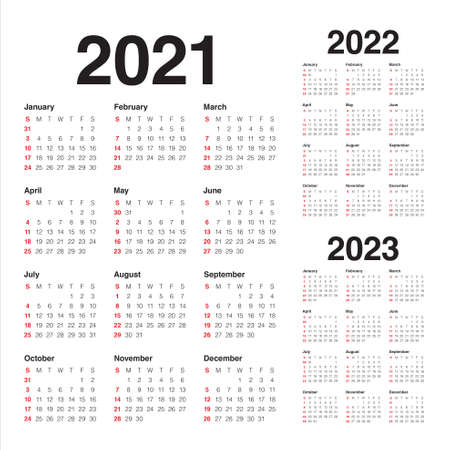 Year 2021 2022 2023 calendar vector design template, simple and clean design