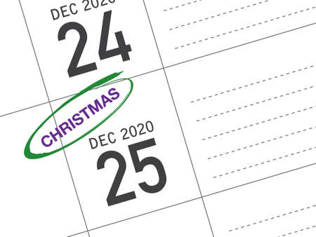 Close up of Christmas day 2021 on diary calendar. Wishing you wonderful memories during this joyous season.