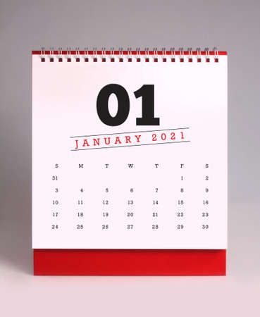 Simple desk calendar for January 2021