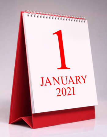 Simple desk calendar for New Year January 2021. New year is the first day of the year in the Gregorian calendar. Standard-Bild