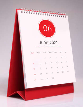 Simple desk calendar for June 2021