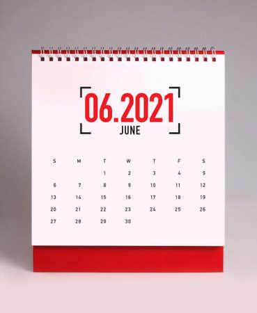 Simple desk calendar for  June 2021
