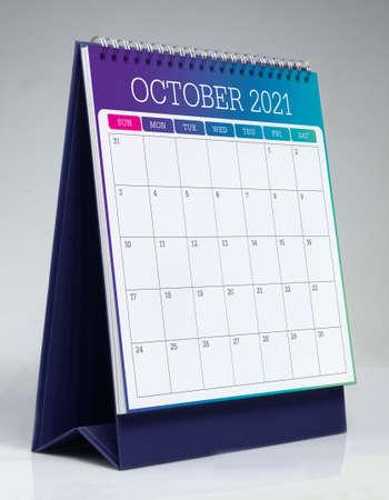Simple desk calendar for October 2021