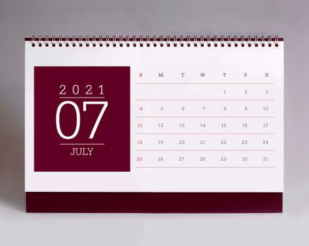 Simple desk calendar for July 2021