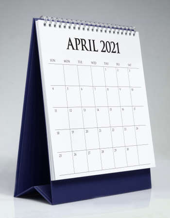 Simple desk calendar for April 2021