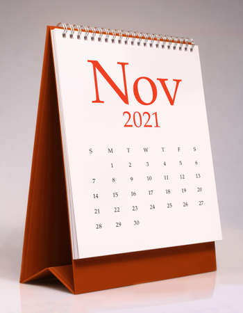 Simple desk calendar for November 2021