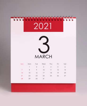 Simple desk calendar for March 2021