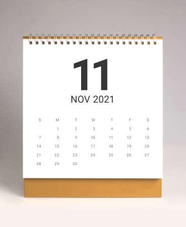 Simple desk calendar for November 2021 版權商用圖片 - 159311693