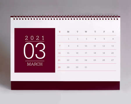 Simple desk calendar for March 2021 版權商用圖片 - 159311836