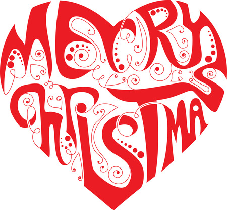 Merry Christmas heart Vector