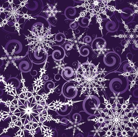 imposing: sfondo viola con fiocchi di neve bianche Vettoriali
