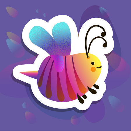 Colorful cartoon bright little bee. Smile and happy insect for kids books. Liquid novelty design Illustration