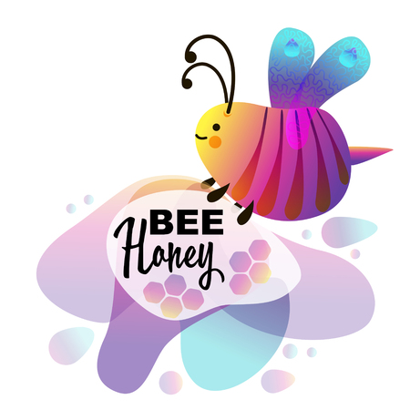 Colorful cartoon bright little bee. Smile and happy insect for kids books Ilustração