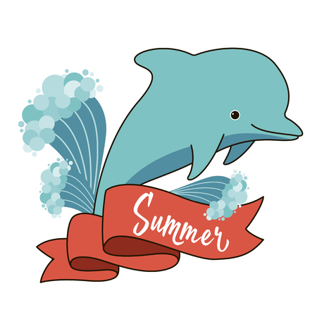 Cute cartoon blue smiling dolphin with water splashes and banner with summer text
