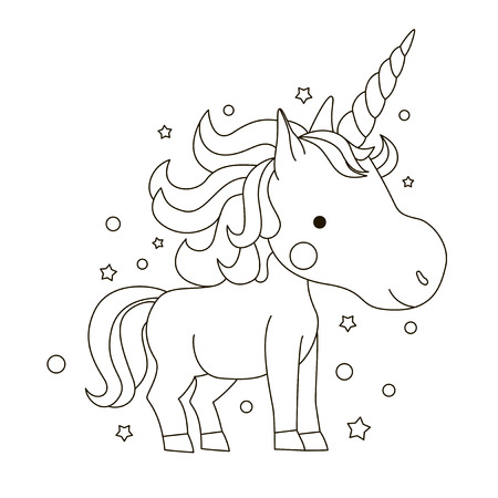Sketch of a cute smiling unicorn for coloring on a white background with stars
