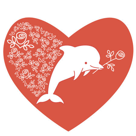 Dolphin in the shape of heart with flower in his mouth. Hand drawn design for St. Valentine Day. Greeting card in red colors