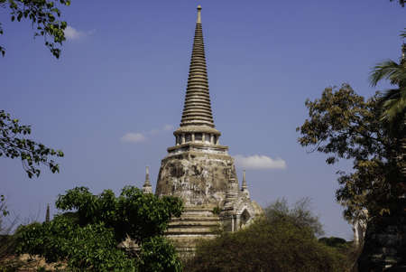 Temple at Ayutthaya in Thailand and most famous for tourist photo