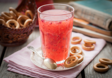 baranka: Red Currant and Orange Fool with Cracker Rings, vintage effect