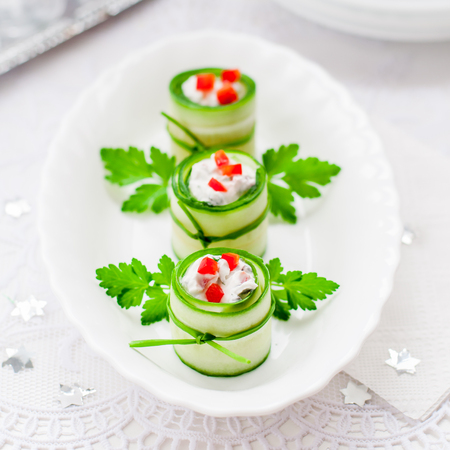 Christmas Cucumber Rolls Stuffed with Feta, Herbs, Capsicum and Black Olives, square