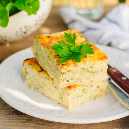Zucchini Rice Slice with Cheese, square, close up